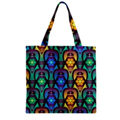 Pattern Background Bright Blue Zipper Grocery Tote Bag