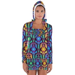 Pattern Background Bright Blue Women s Long Sleeve Hooded T-shirt