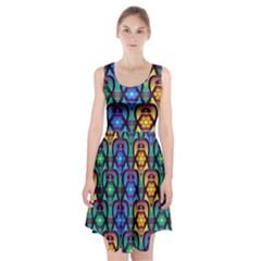 Pattern Background Bright Blue Racerback Midi Dress