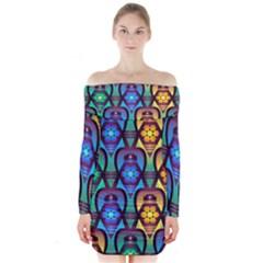 Pattern Background Bright Blue Long Sleeve Off Shoulder Dress