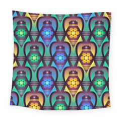 Pattern Background Bright Blue Square Tapestry (Large)