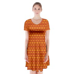 Pattern Creative Background Short Sleeve V-neck Flare Dress