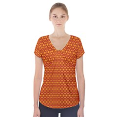 Pattern Creative Background Short Sleeve Front Detail Top