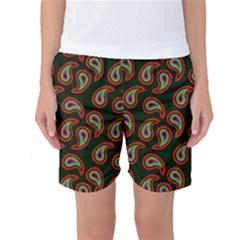 Pattern Abstract Paisley Swirls Women s Basketball Shorts