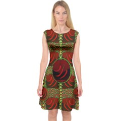 Spanish And Hot Capsleeve Midi Dress