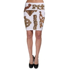 Pattern Motif Decor Bodycon Skirt