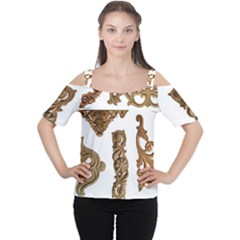 Pattern Motif Decor Women s Cutout Shoulder Tee