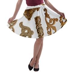 Pattern Motif Decor A-line Skater Skirt