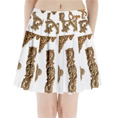 Pattern Motif Decor Pleated Mini Skirt