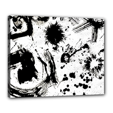 Pattern Color Painting Dab Black Canvas 20  x 16