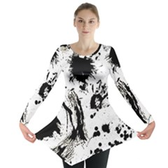 Pattern Color Painting Dab Black Long Sleeve Tunic