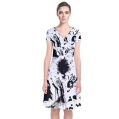 Pattern Color Painting Dab Black Short Sleeve Front Wrap Dress