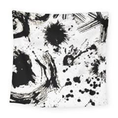 Pattern Color Painting Dab Black Square Tapestry (large)