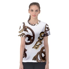 Pattern Motif Decor Women s Sport Mesh Tee