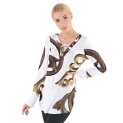 Pattern Motif Decor Women s Tie Up Tee