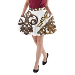 Pattern Motif Decor A Line Pocket Skirt