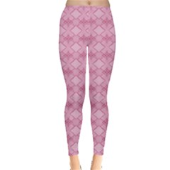 Pattern Pink Grid Pattern Leggings