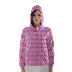 Pattern Pink Grid Pattern Hooded Wind Breaker (Women)