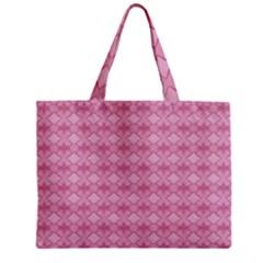 Pattern Pink Grid Pattern Zipper Mini Tote Bag