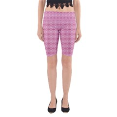 Pattern Pink Grid Pattern Yoga Cropped Leggings