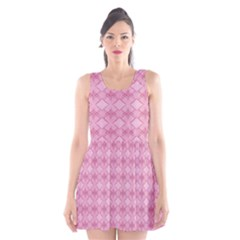 Pattern Pink Grid Pattern Scoop Neck Skater Dress
