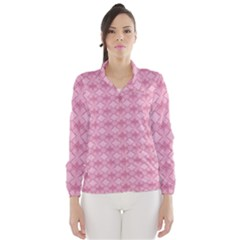Pattern Pink Grid Pattern Wind Breaker (Women)