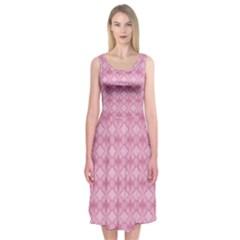 Pattern Pink Grid Pattern Midi Sleeveless Dress