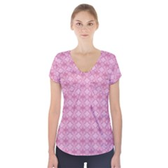Pattern Pink Grid Pattern Short Sleeve Front Detail Top