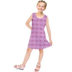 Pattern Pink Grid Pattern Kids  Tunic Dress
