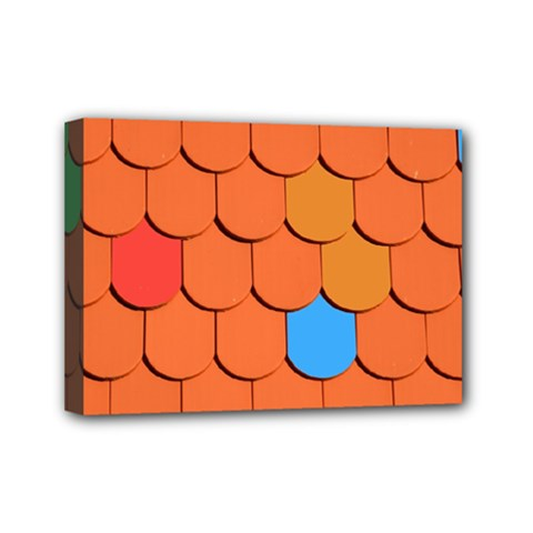 Roof Brick Colorful Red Roofing Mini Canvas 7  x 5