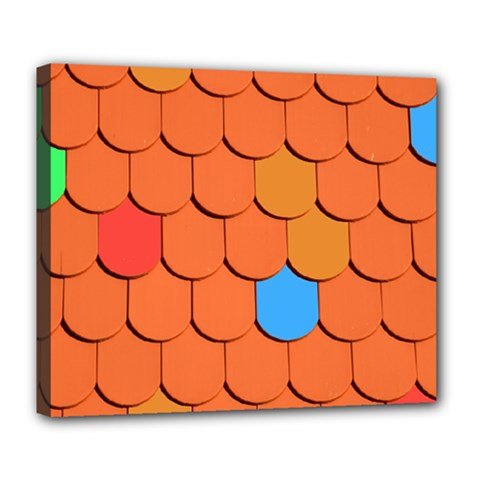 Roof Brick Colorful Red Roofing Deluxe Canvas 24  x 20