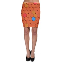 Roof Brick Colorful Red Roofing Bodycon Skirt