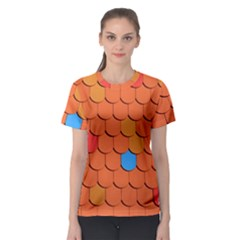 Roof Brick Colorful Red Roofing Women s Sport Mesh Tee