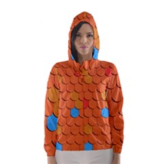 Roof Brick Colorful Red Roofing Hooded Wind Breaker (Women)