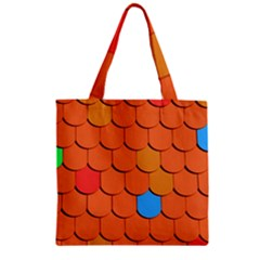Roof Brick Colorful Red Roofing Zipper Grocery Tote Bag