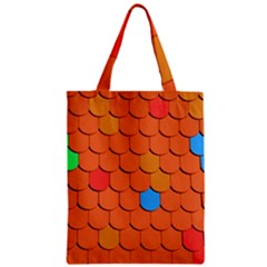 Roof Brick Colorful Red Roofing Zipper Classic Tote Bag