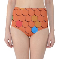Roof Brick Colorful Red Roofing High Waist Bikini Bottoms