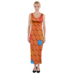 Roof Brick Colorful Red Roofing Fitted Maxi Dress