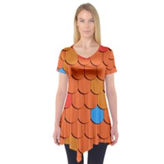 Roof Brick Colorful Red Roofing Short Sleeve Tunic