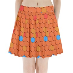 Roof Brick Colorful Red Roofing Pleated Mini Skirt
