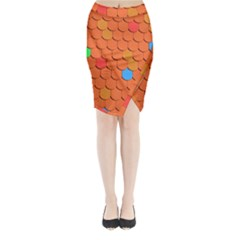 Roof Brick Colorful Red Roofing Midi Wrap Pencil Skirt