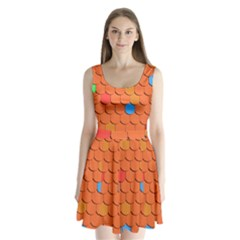 Roof Brick Colorful Red Roofing Split Back Mini Dress
