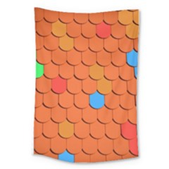 Roof Brick Colorful Red Roofing Large Tapestry