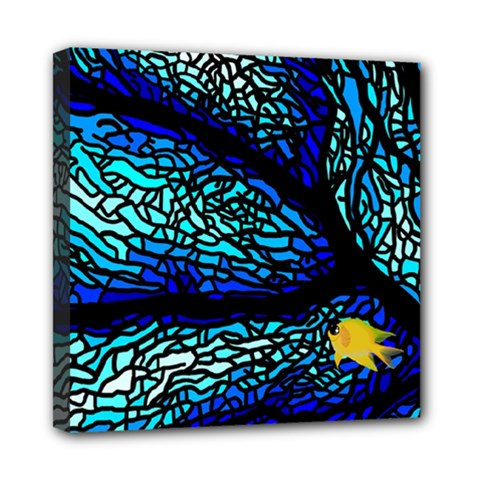 Sea Fans Diving Coral Stained Glass Mini Canvas 8  X 8