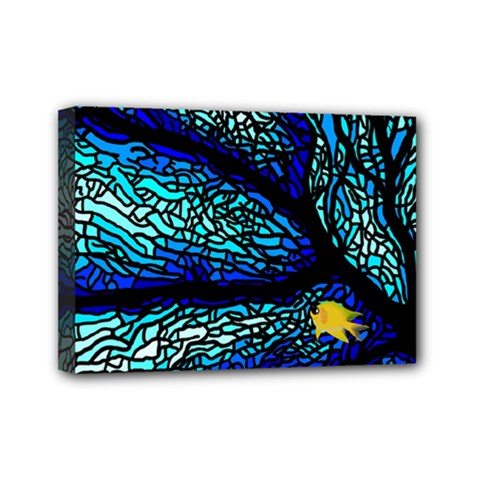 Sea Fans Diving Coral Stained Glass Mini Canvas 7  x 5