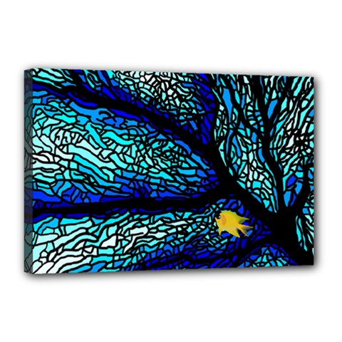 Sea Fans Diving Coral Stained Glass Canvas 18  x 12