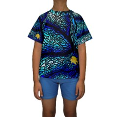 Sea Fans Diving Coral Stained Glass Kids  Short Sleeve Swimwear