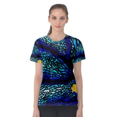 Sea Fans Diving Coral Stained Glass Women s Sport Mesh Tee