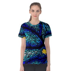Sea Fans Diving Coral Stained Glass Women s Cotton Tee