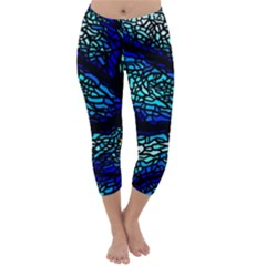 Sea Fans Diving Coral Stained Glass Capri Winter Leggings